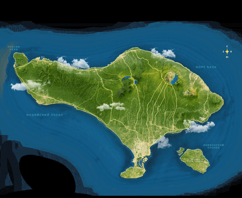 большая карта острова бали